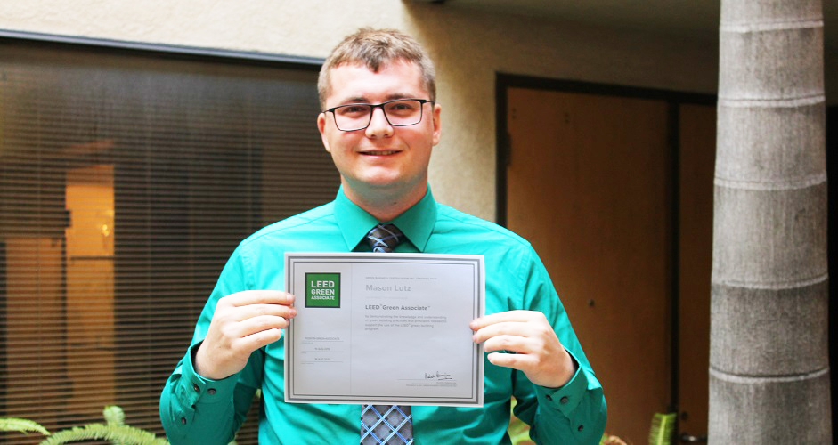 Employee with certificate