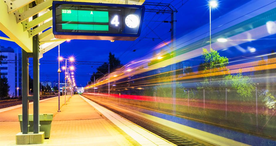 LA Metro train moving fast