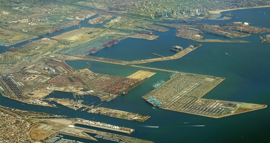 Aerial view of the Port of Long Beach