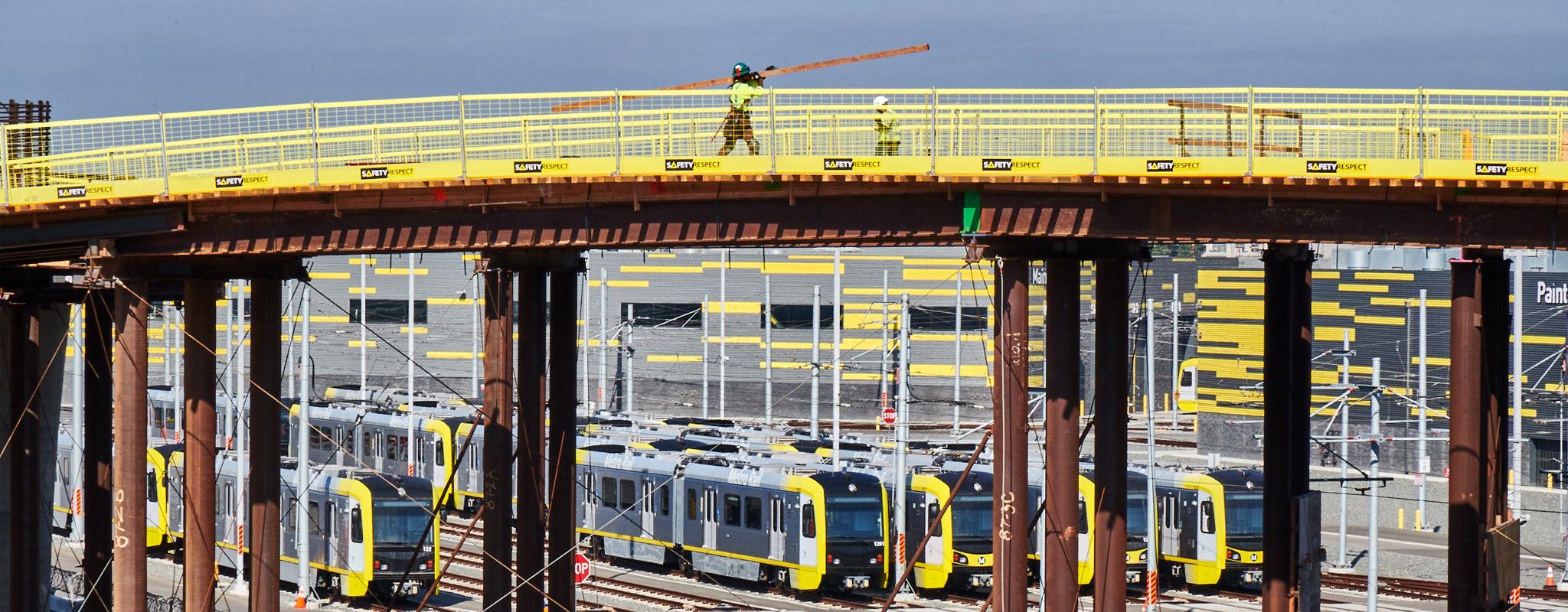 Metro trains and bridge construction