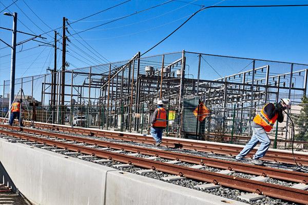 Working on railroad tracks